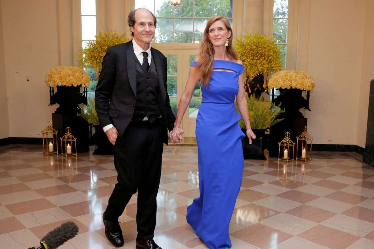 US Ambassador Samantha Power and Cass Sunstein arrive for a state dinner hosted by US President Barack Obama for Singapore Prime Minister Lee Hsien Loong at the White House in Washington on Aug 2, 2016.
