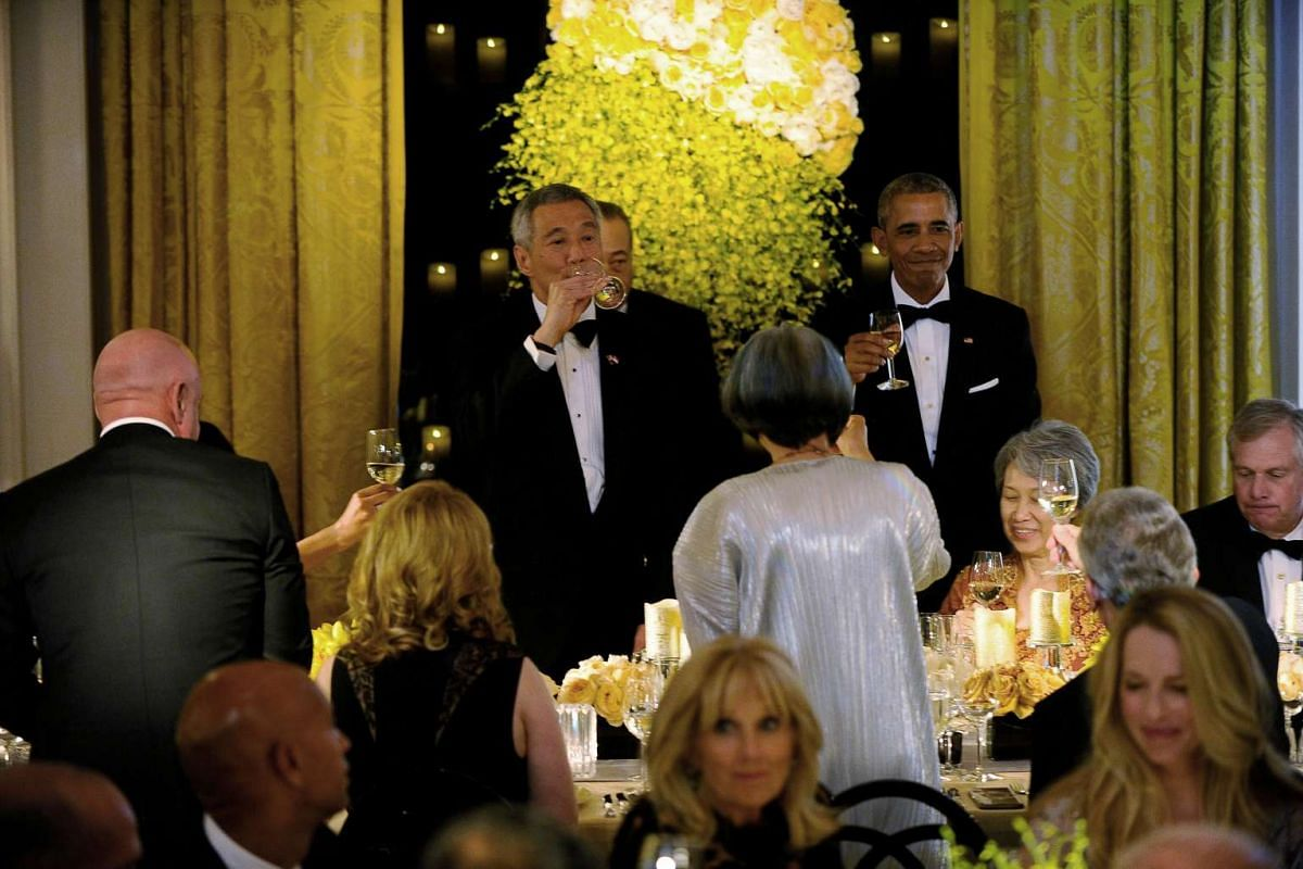 US President Barack Obama and First Lady Michelle Obama host a state dinner for Singapore Prime Minister Lee Hsien Loong and Mrs Lee at the White House in Washington, DC on Aug 2, 2016.