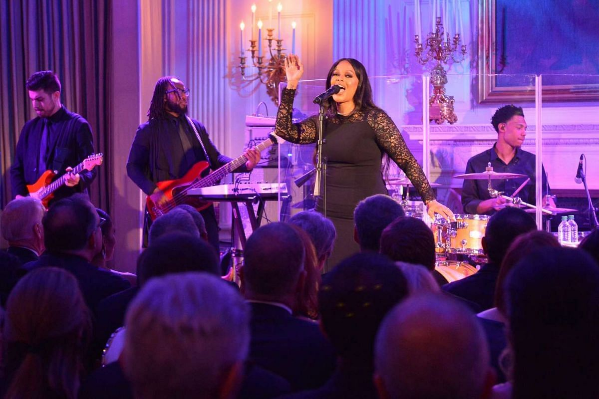 Chrisette Michele entertains the guests at the state dinner held in honour of Singapore Prime Minister Lee Hsien Loong and Mrs Lee at the White House on Aug 2, 2016.