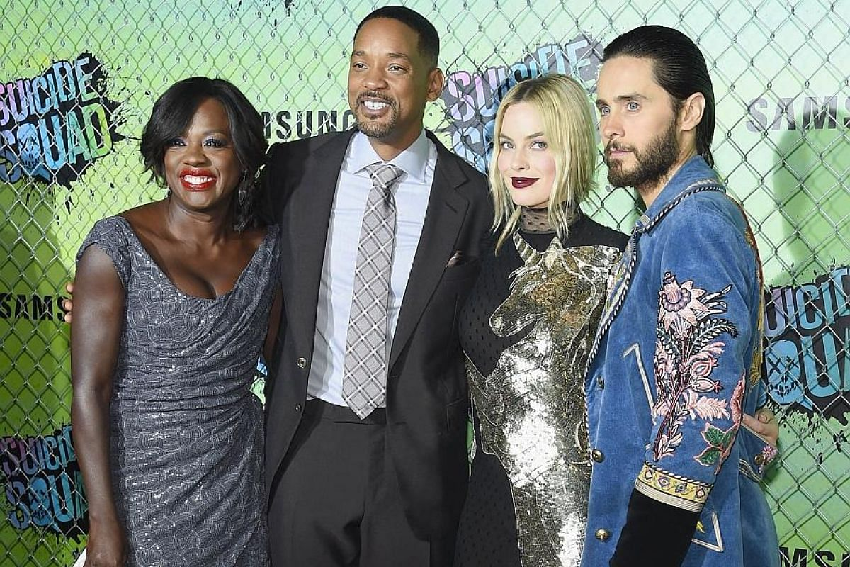 Suicide Squad co-stars (from left) Viola Davis, Will Smith, Margot Robbie and Jared Leto at the film's world premiere in New York.