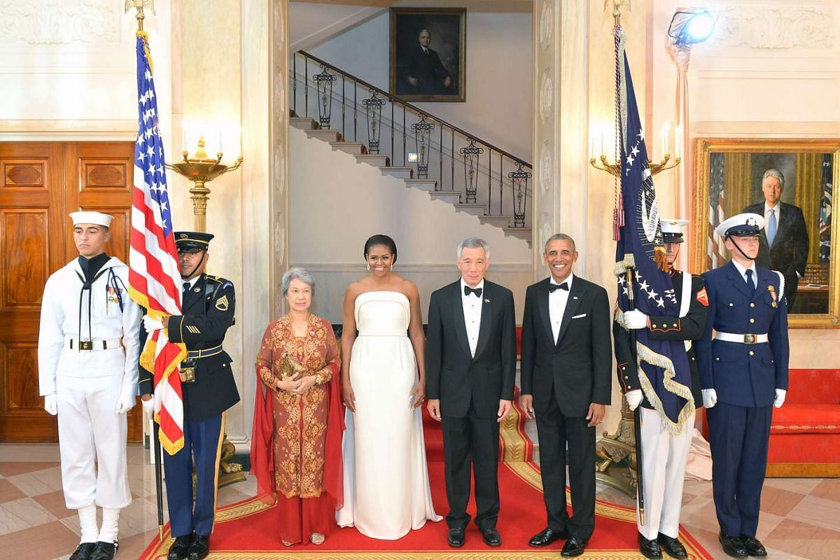(From left) Mrs Lee, Mrs Obama, PM Lee Hsien Loong and President Obama arrive at the White House for the state dinner on Aug 2.