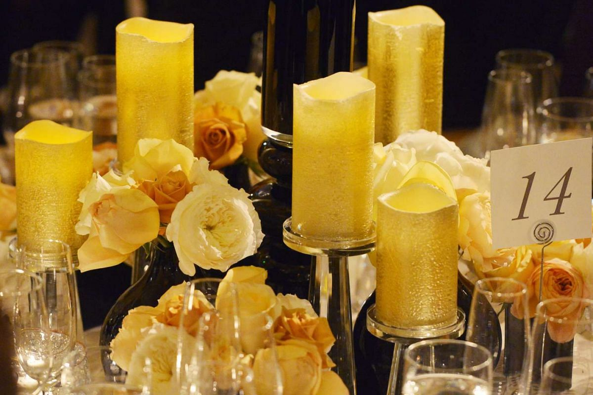 The dinner table setting for the state dinner in the White House.