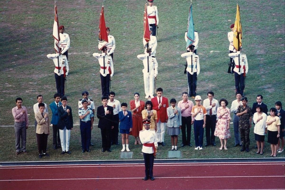 1989: The oath-taking ceremony during one of the NDP's dress rehearsals.