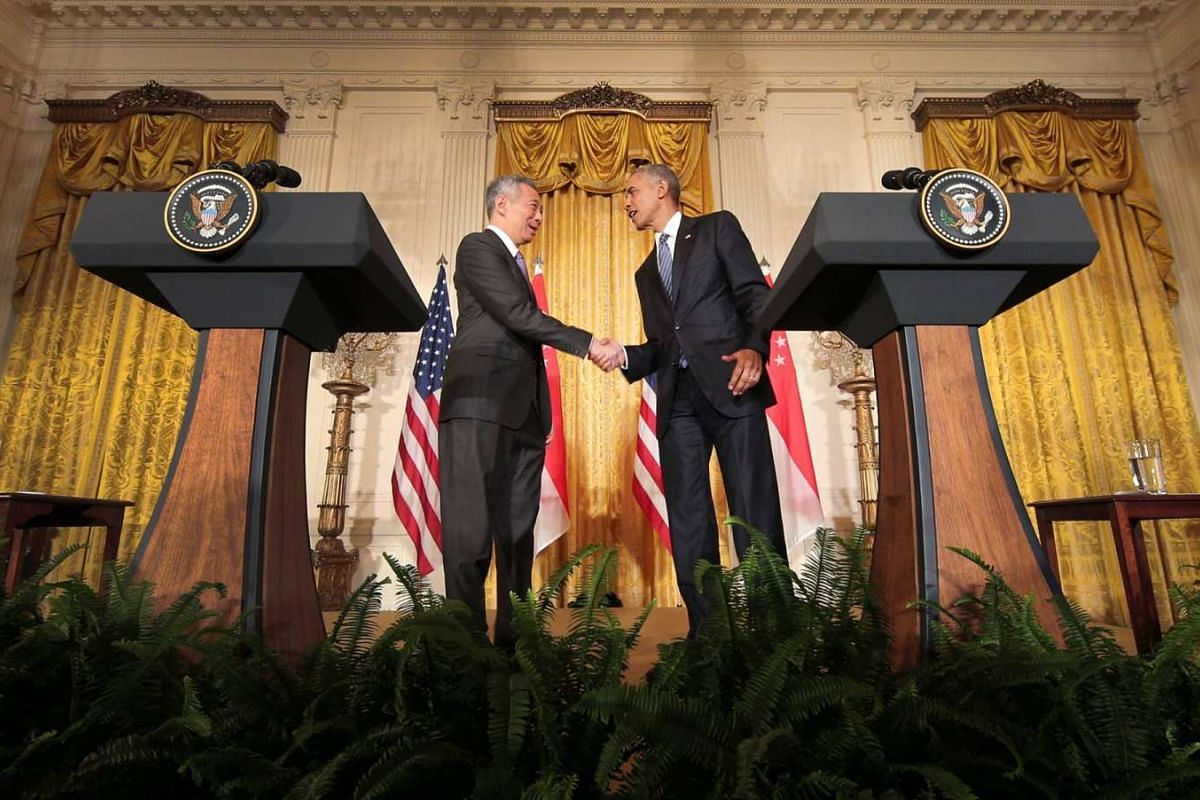 US President Barack Obama and Singapore Prime Minister Lee Hsien Loong during a joint press conference at the East Wing of The White House.