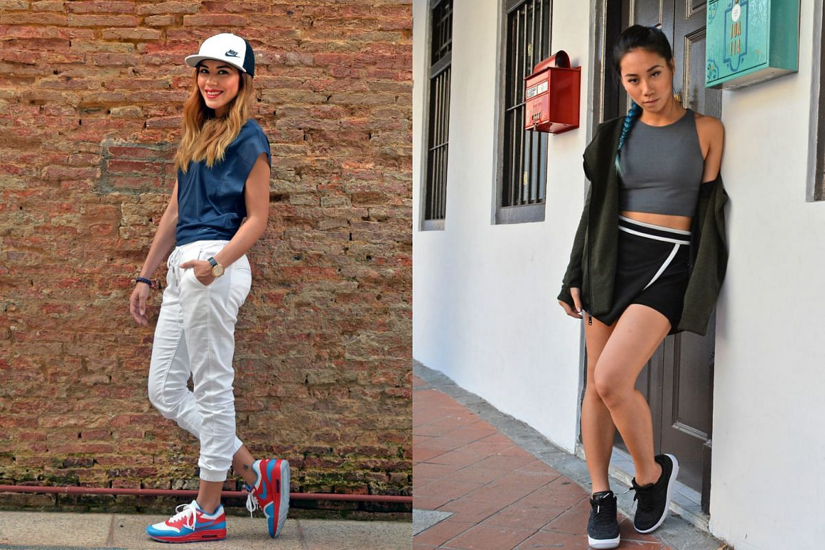 Actress and television presenter Carla Dunareanu (left) and musician Sandra Riley Tang (right) of home-grown band The Sam Willows wear sportswear outside of the gym to run errands and to meet friends.