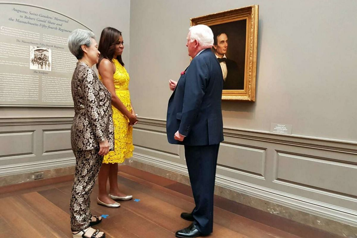 Mrs Lee Hsien Loong and US First Lady Michelle Obama on a tour of the National Gallery of Art in Washington, DC on August 2.