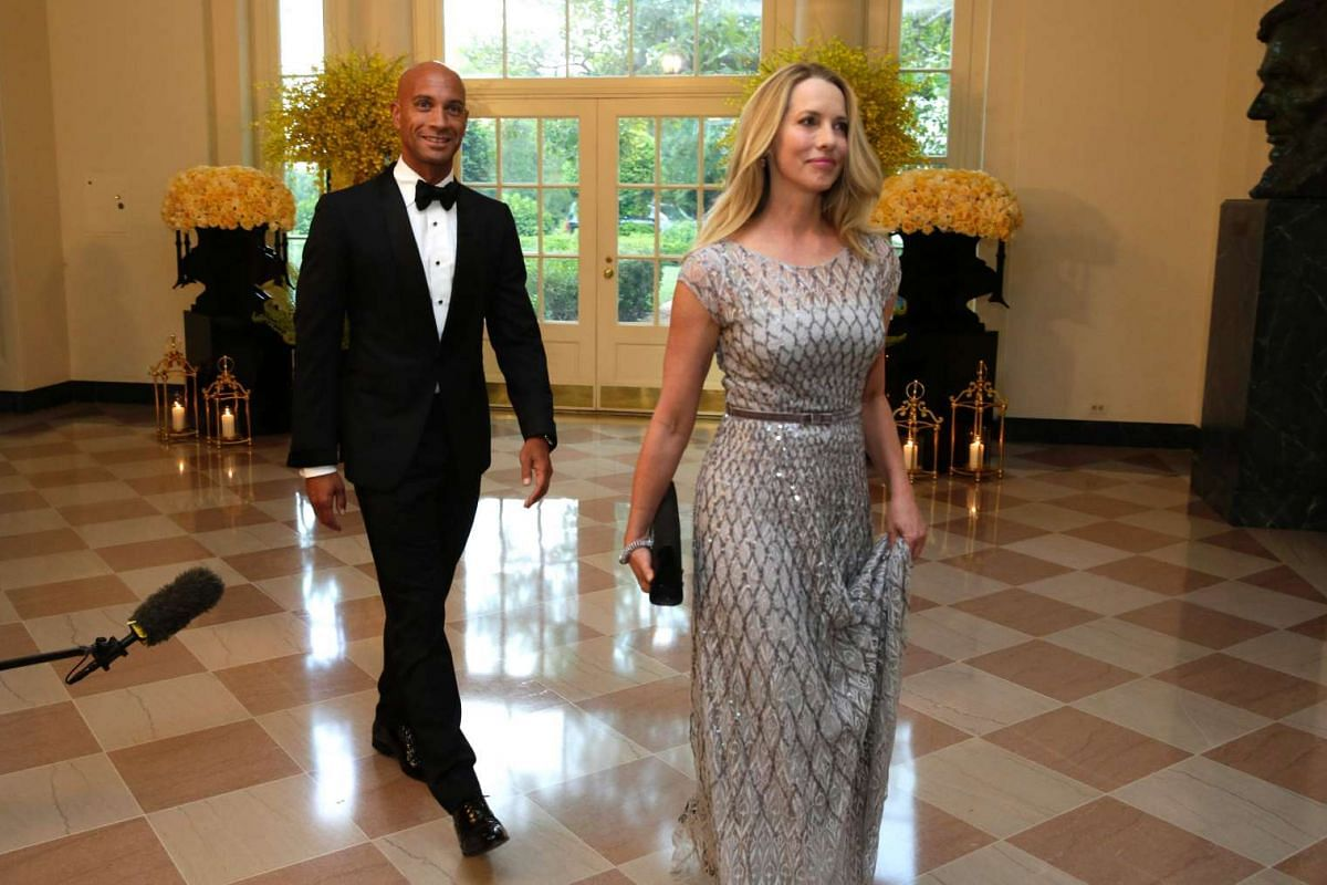 Laurene Powell Jobs and former Washington mayor Adrian Fenty arrive at a State Dinner in honour of Prime Minister Lee Hsien Loong of Singapore at the White House on Aug 2, 2016.