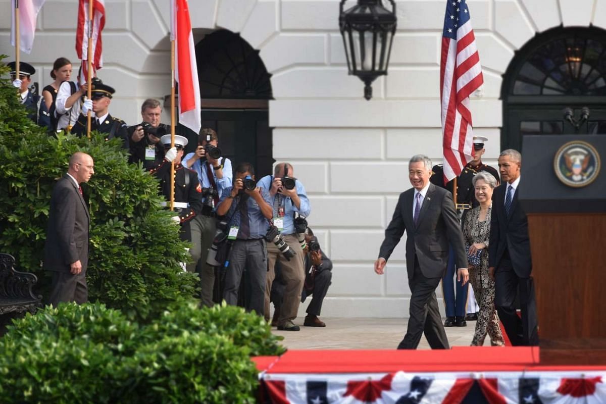 Prime Minister Lee and Mrs Lee arrive at the White House on Aug 2.