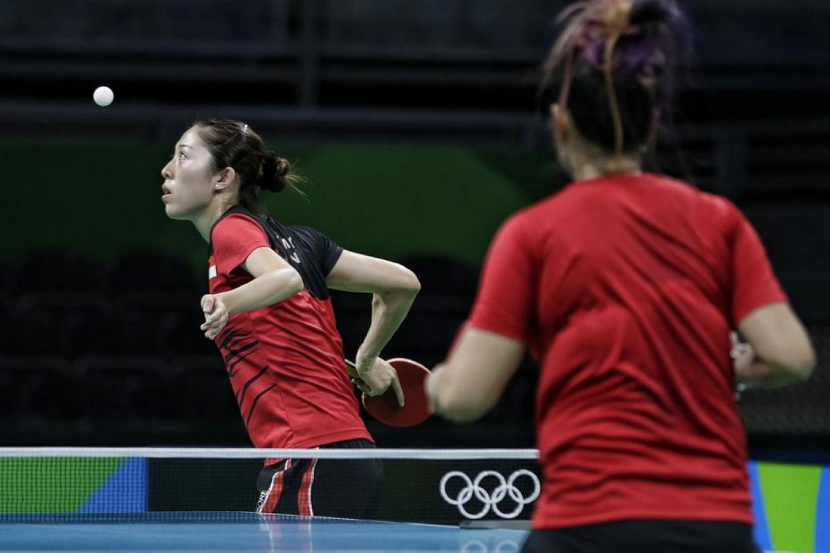 Singapore's Yu Mengyu training ahead of the women's table tennis competition of in Rio de Janiero, on August 4.