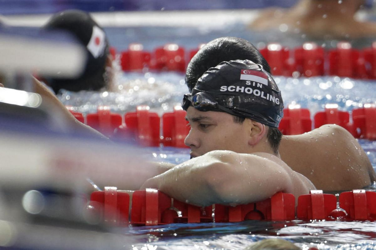 Singapore's Joseph Schooling finishes a lap during training on August 4 ahead of the swimming competition in Rio de Janiero, Brazil.