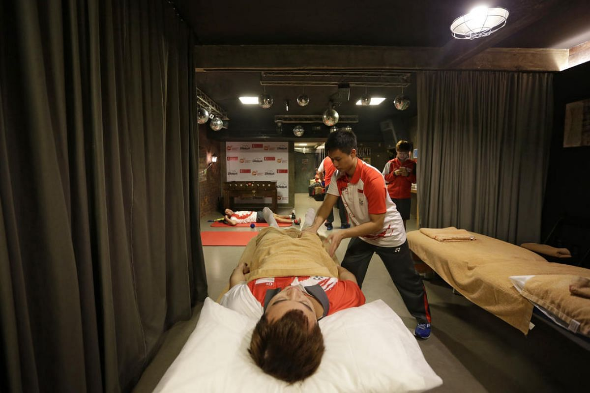 The massage room on August 4 in the basement of Singapore House where Team Singapore athletes are housed.