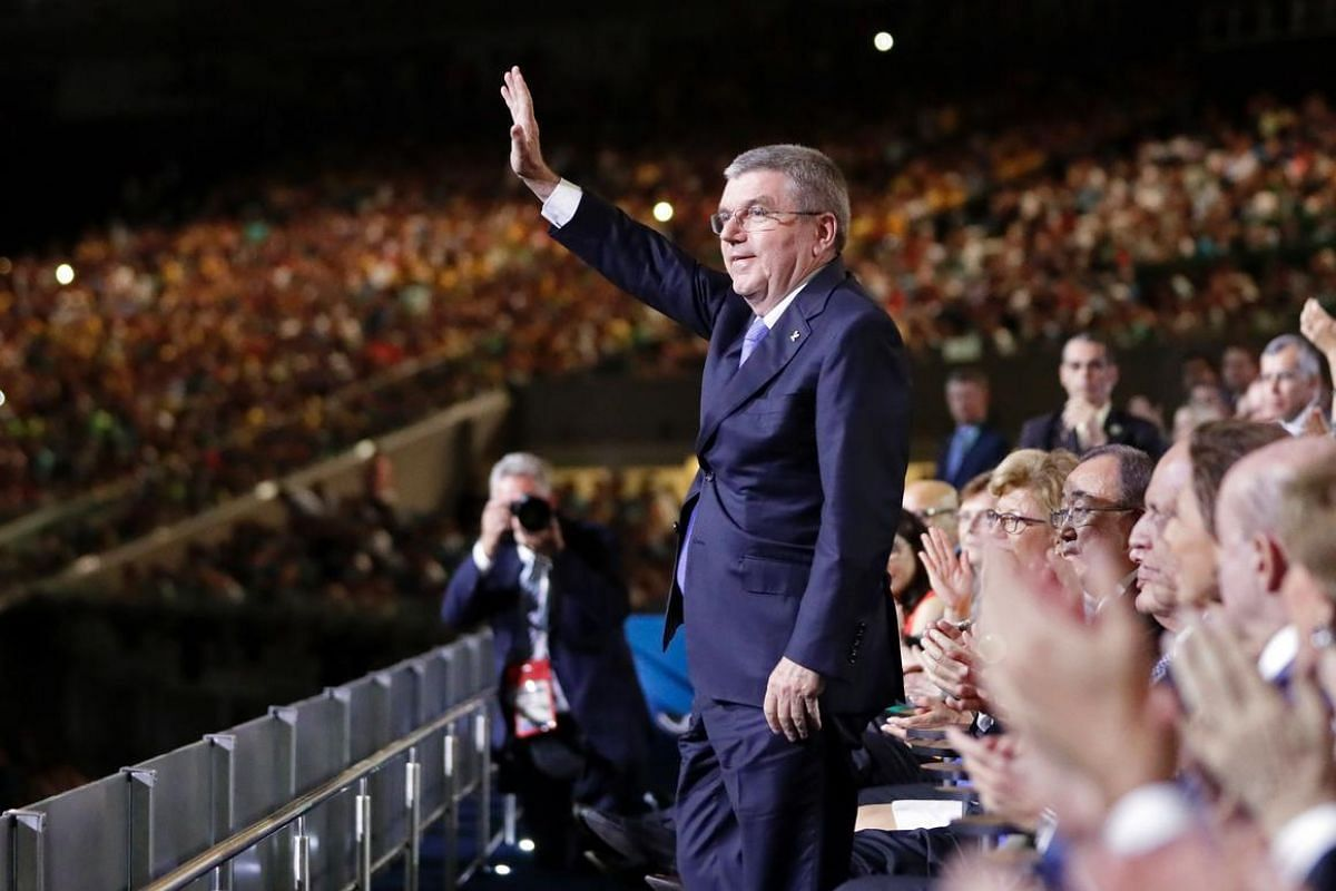 International Olympic Committee President Thomas Bach waves as he is introduced during the opening ceremony of the Rio 2016 Olympic Games.