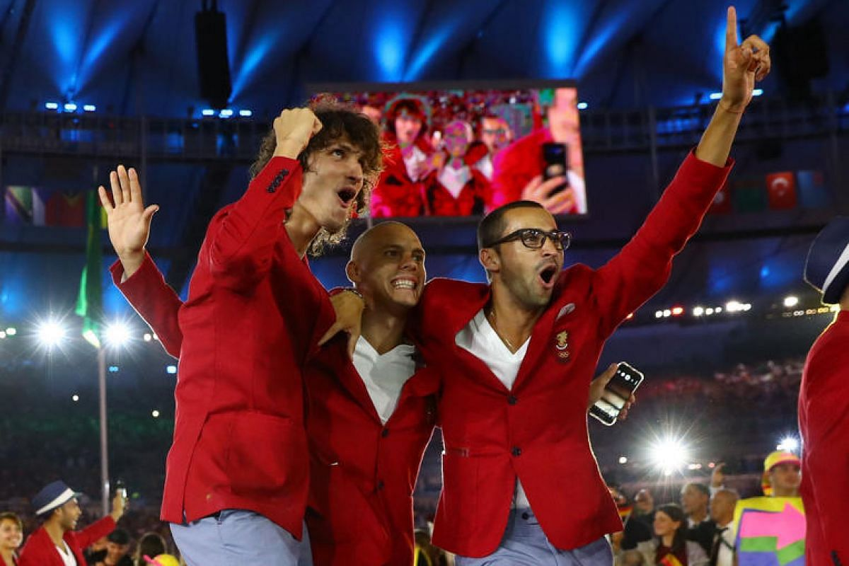 The Bulgarian team at the opening ceremony.