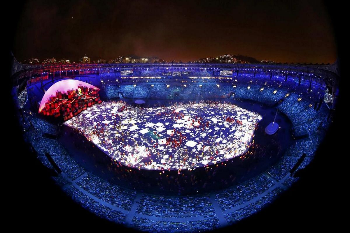 A general view during the opening ceremony.