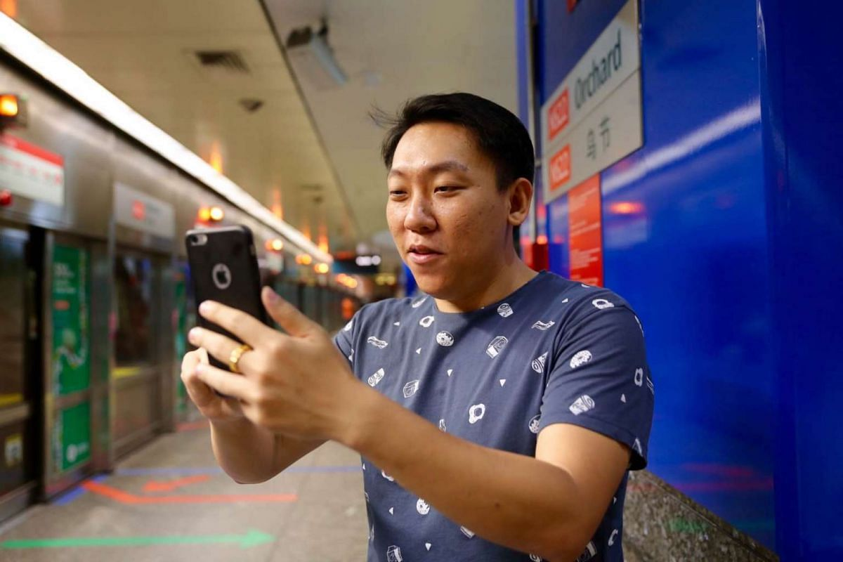 Mr Kenji Lee, 31, who does advertising, downloaded the game when it was released this morning and had missed a few passingtrains in order to catch Pokemon at Orchard MRT station.