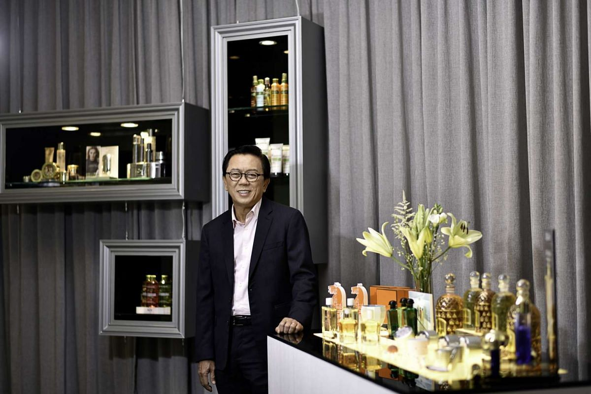 Mr Patrick Chong's (above) company not only distributes cosmetics and professional salon products, but also has two Escentials retail stores.