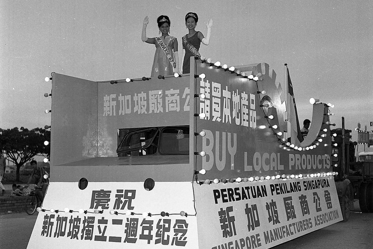 Clockwise from top: Crowds lining the streets to catch a glimpse of the military parade that started at the Padang and moved along St Andrew's, North Bridge, South Bridge and Tanjong Pagar roads in the first National Day Parade in 1966; the 1968 para