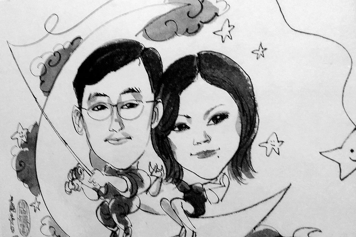 The caricature that Mr Zhou presented to Madam Zhang when he proposed.