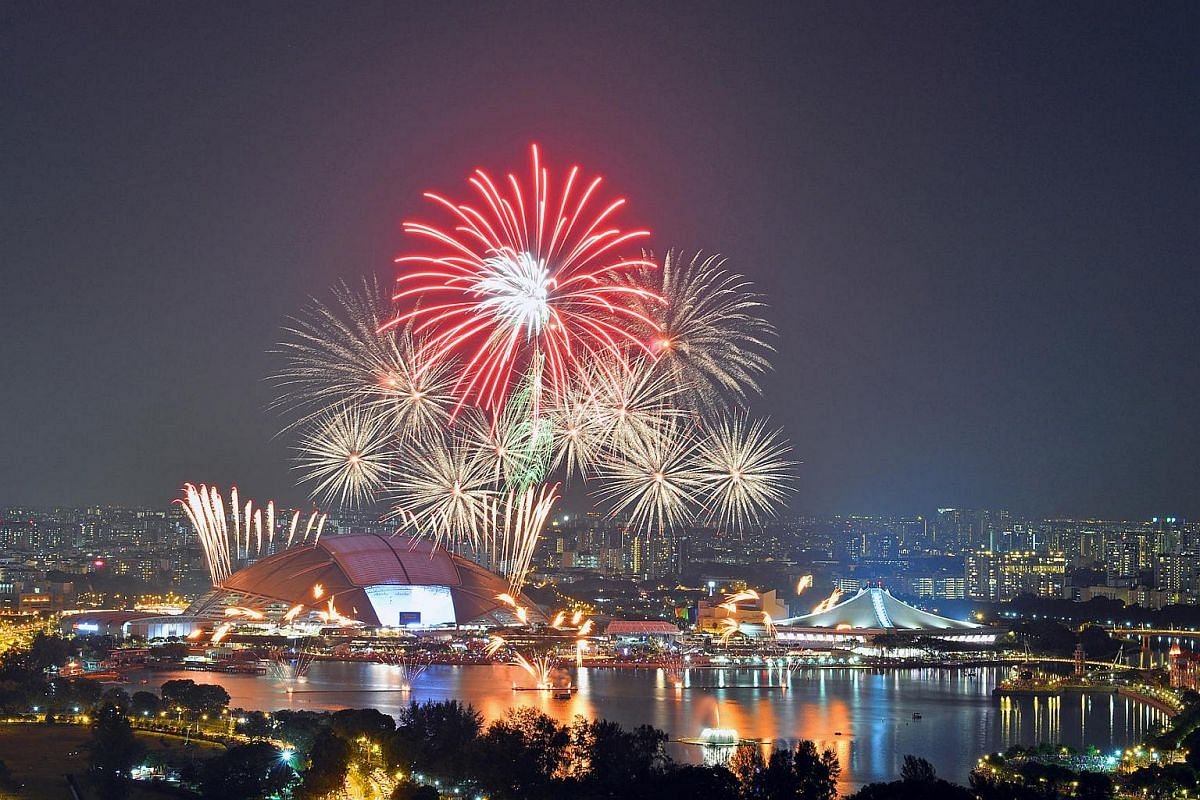 The outdoor fireworks display, set off from the roof of the stadium and three barges on the Kallang Basin.