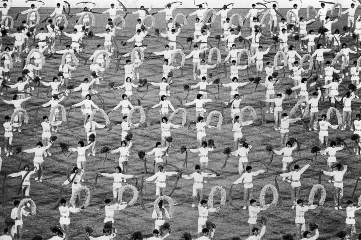 Chung Cheng High School students putting on a Chinese dance performance called Spring of Youth at the 1976 parade.