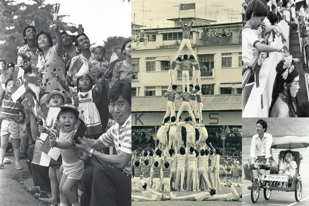 Clockwise from left: The Republic of Singapore Air Force drawing oohs and aahs from the crowd in Guillemard Road in 1985; 200 men from the Nichiren Shoshu Buddhist Association forming a five-level human tower at Jalan Besar Stadium in 1981; a child c