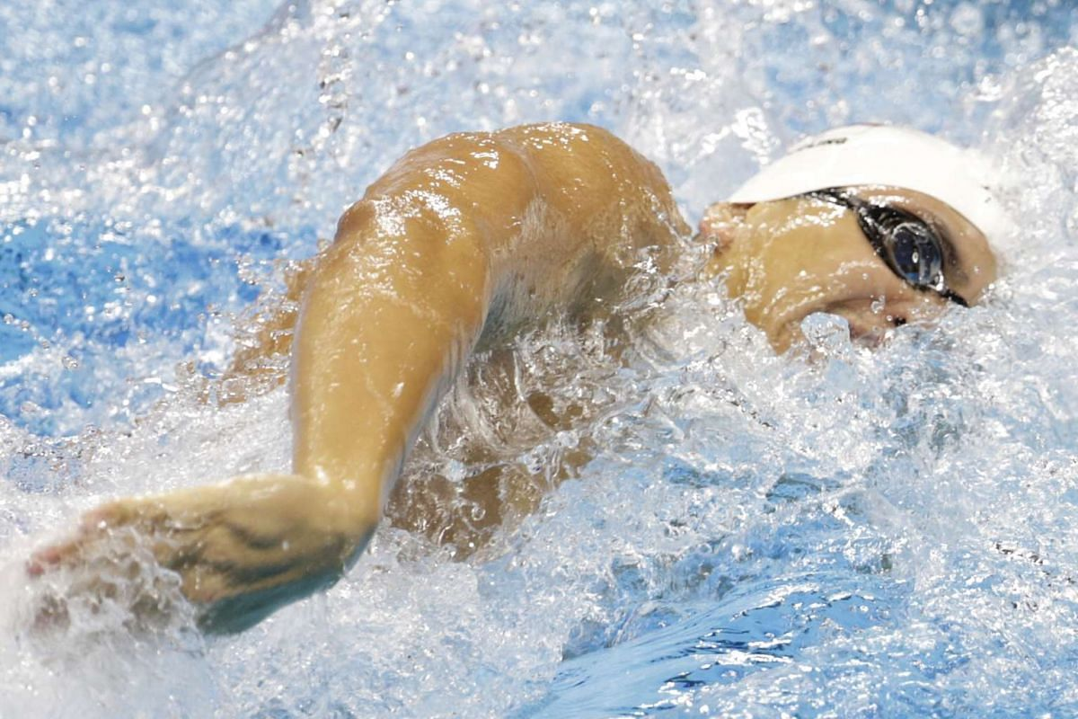 Joseph Schooling of Singapore in action during the Rio 2016 Olympic Games men's 100m freestyle semi-final at the Olympic Aquatics Centre in Rio de Janeiro on Aug 9, 2016.