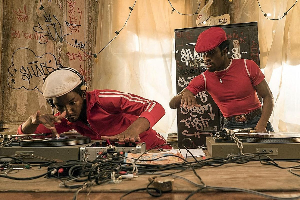 Mamoudou Athie (left) as Grandmaster Flash and Shameik Moore as Shaolin Fantastic in The Get Down, which follows a group of Bronx boys and their graffiti-artist friends as they discover hip-hop.