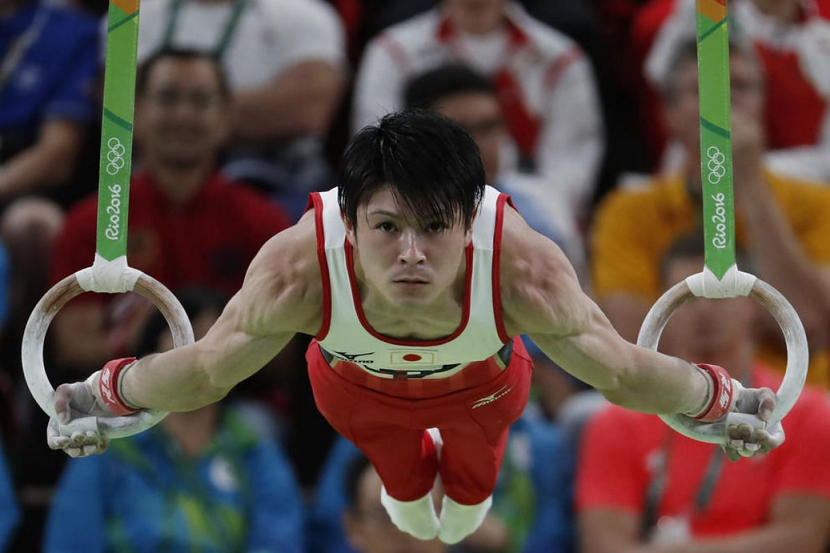 Japan's Kohei Uchimura competes in the rings event of the men's individual all-around final of the Artistic Gymnastics at the Olympic Arena on Aug 10.