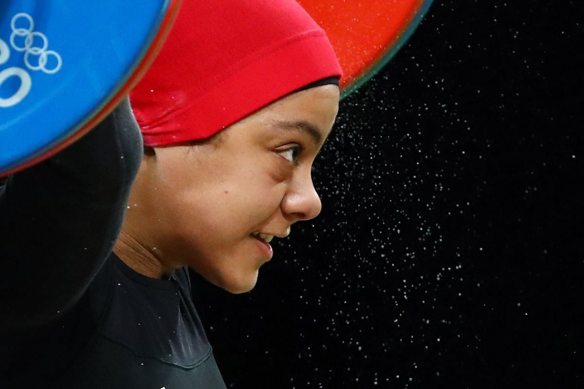 Sara Ahmed of Egypt during the women's 69kg weightlifting finals of the Rio 2016 Olympic Games in Rio de Janeiro, Brazil, on Aug 10, 2016.