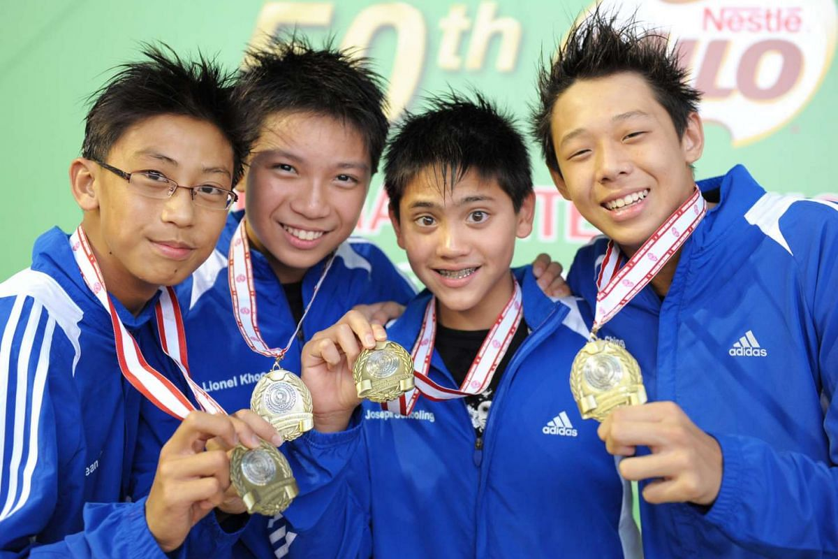 (From left) Sean Koh, Lionel Khoo, Joseph Schooling and Joel Ching set a meet record in the C Division 4x50m medley relay event for Anglo-Chinese School (Independent) at the Schools National Championships on April 28, 2009.
