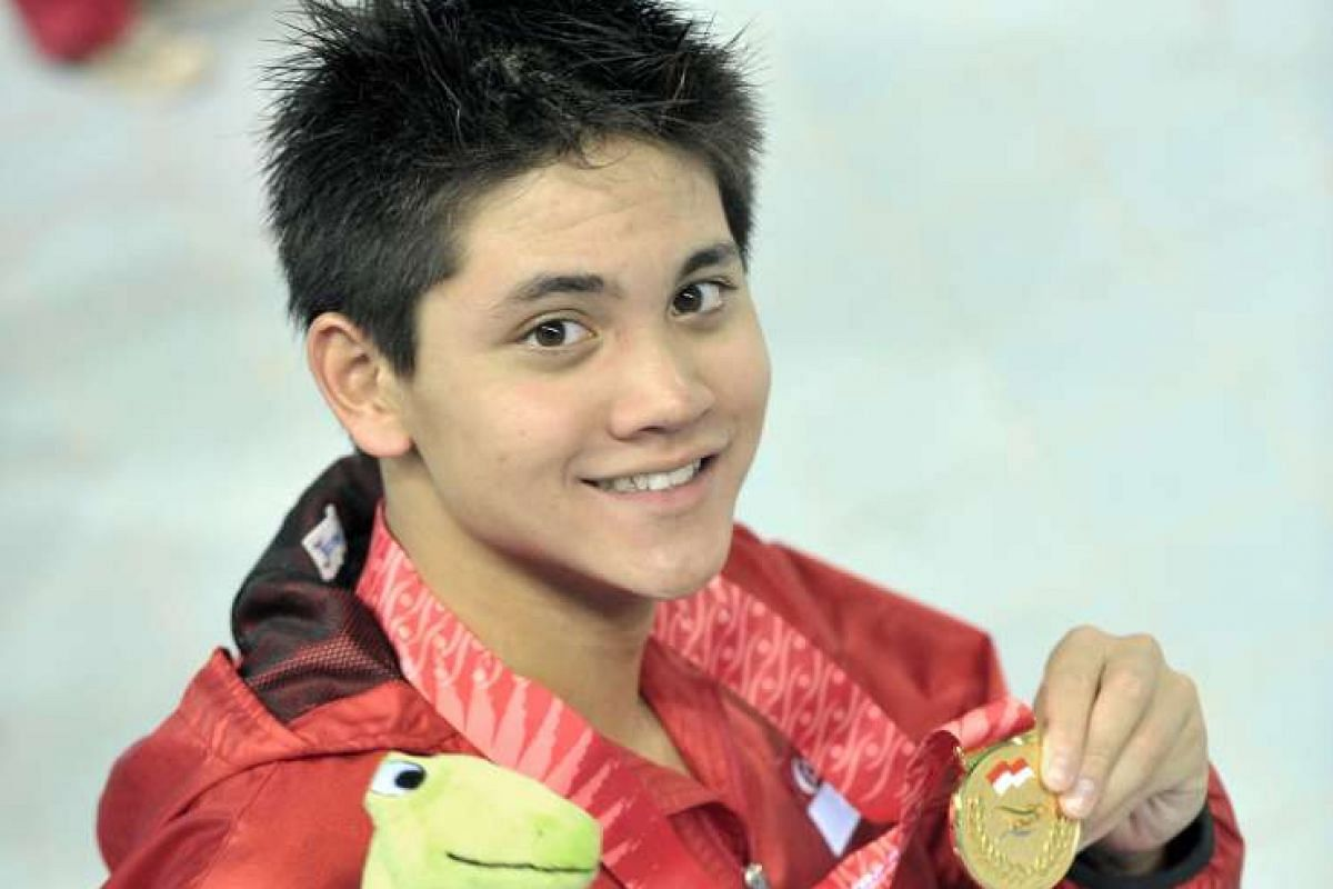 Singapore's swimmer Joseph Schooling won the 50m butterfly at the SEA Games at the Jakabaring Aquatics Centre in Palembang, Indonesia on Nov 12, 2011.