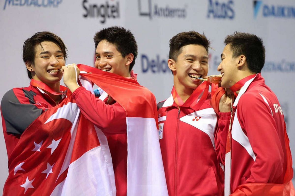 (From left) Clement Lim, Joseph Schooling, Lionel Khoo and Quah Zheng Wen won the gold medal for the 28th SEA Games swimming men's 4x100m medley relay final held at the OCBC Aquatic Centre on June 11, 2015.