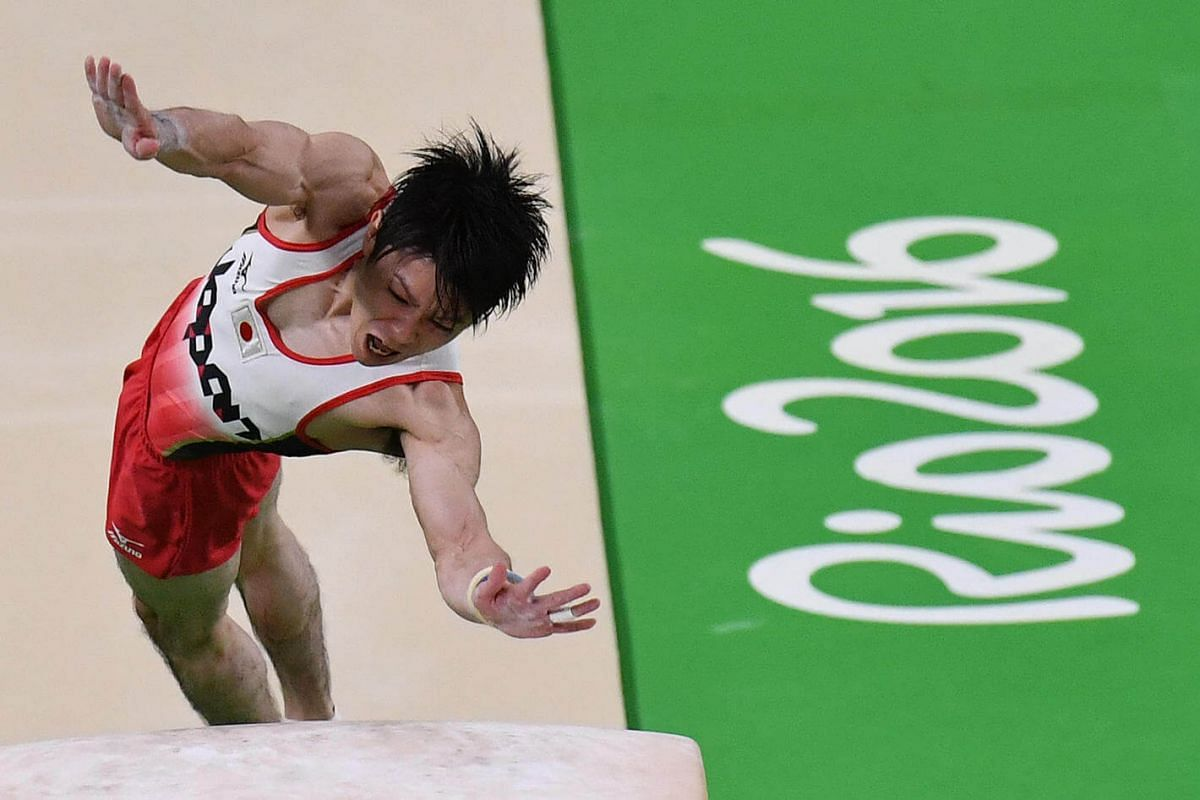 Japan's Kohei Uchimura competes in the vault event of the men's individual all-around final of the Artistic Gymnastics at the Olympic Arena during the Rio 2016 Olympic Games on Aug 10.