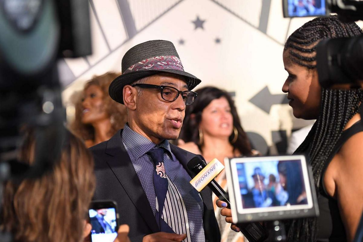 Veteran actor Giancarlo Esposito talks to reporters on the red carpet for The Get Down's premiere.