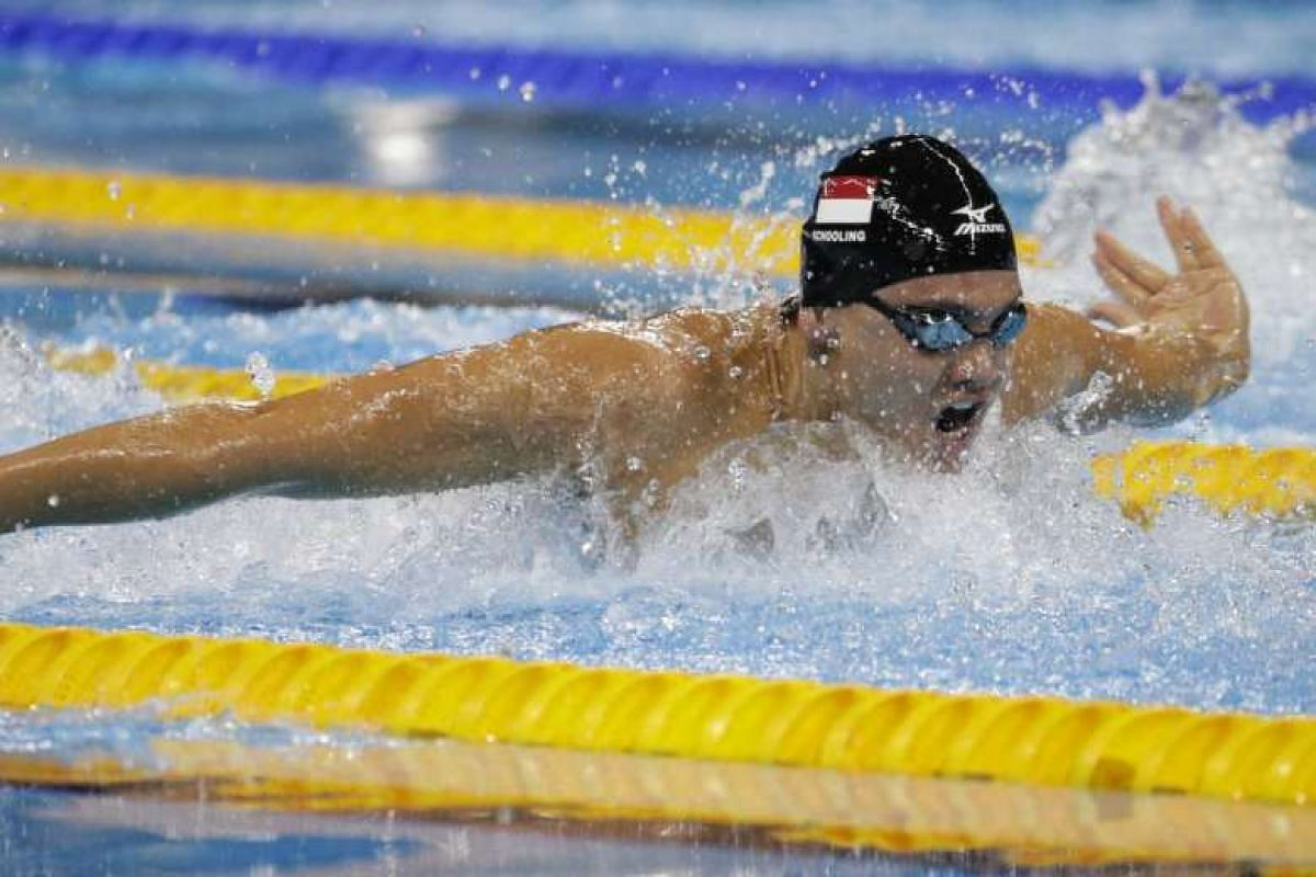 Joseph Schooling of Singapore in action during the Rio 2016 Olympic Games men's 100m butterfly heats at the Olympic Aquatics Stadium on Aug 11, 2016.