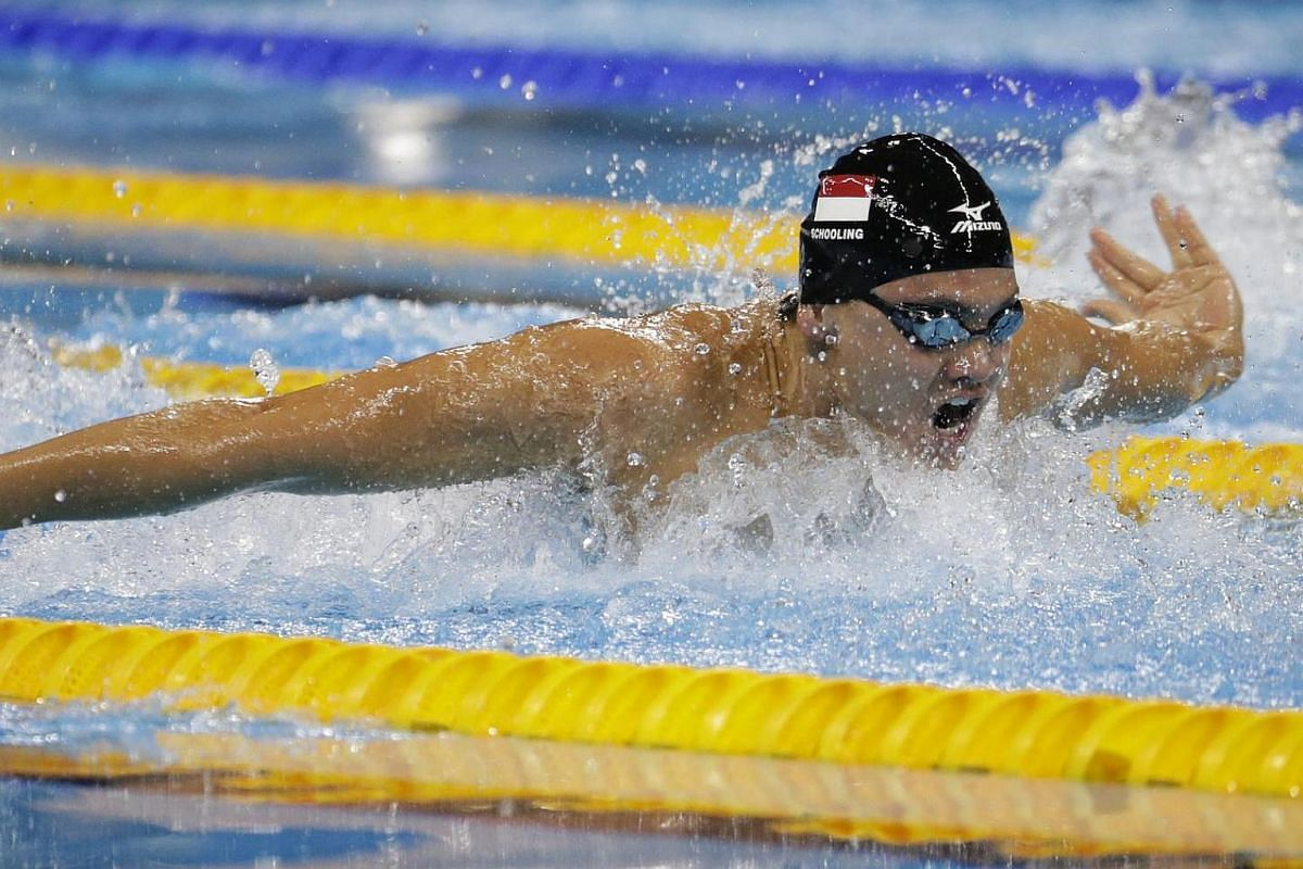 Joseph Schooling of Singapore in action during the Rio 2016 Olympic Games men's 100m butterfly semi-final at the Olympic Aquatics Stadium in Rio de Janeiro, Brazil, on Aug 11, 2016.