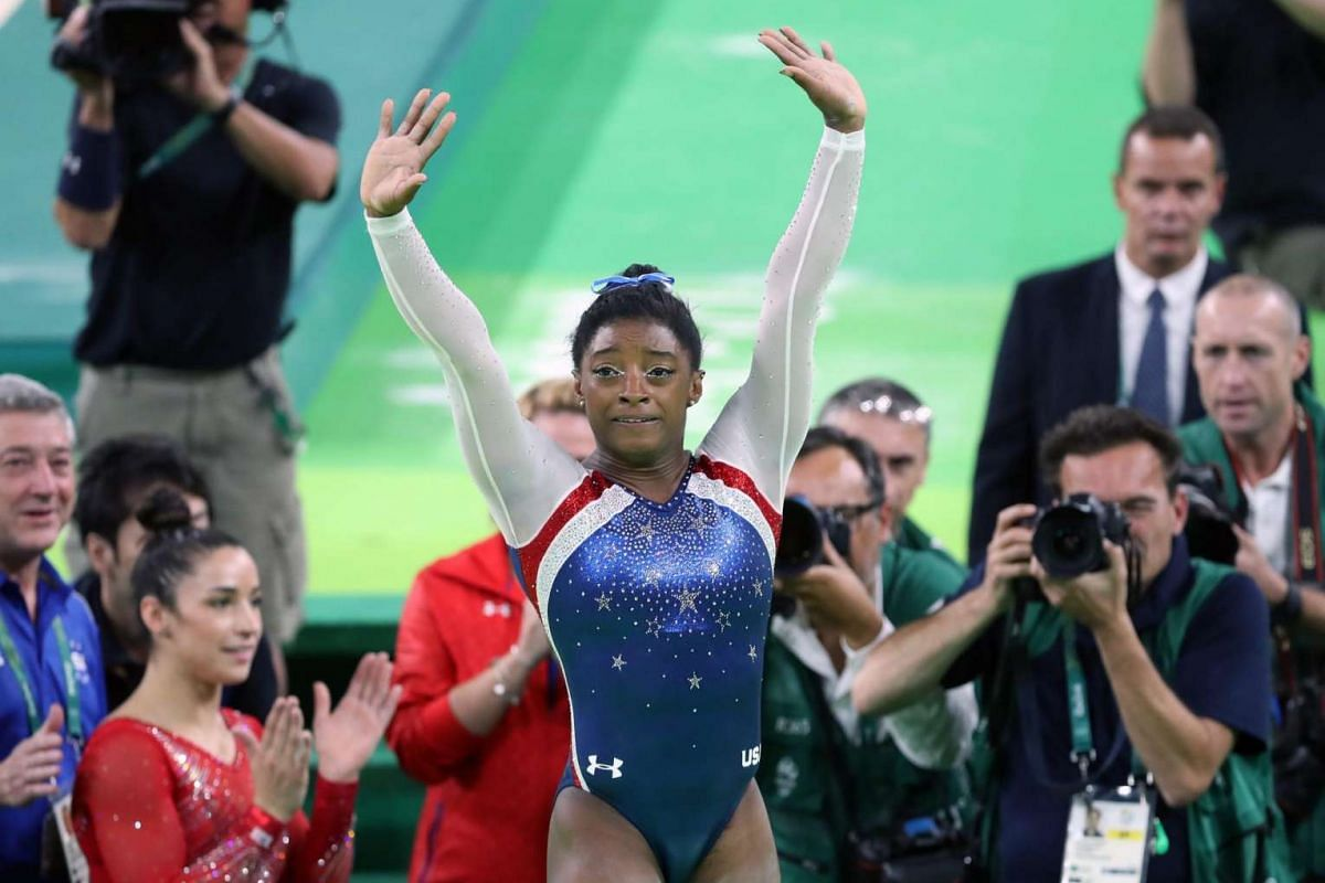 Simone Biles of the USA celebrates after her performance on the floor in the women's Individual all-around final of the Rio 2016 Olympic Games artistic gymnastics events at the Rio Olympic Arena on Aug 11.