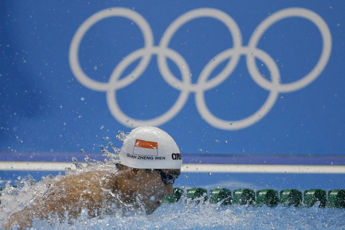 Quah Zheng Wen of Singapore in action at the Rio 2016 Olympic Games men's 100m butterfly semi-finals on Aug 11.
