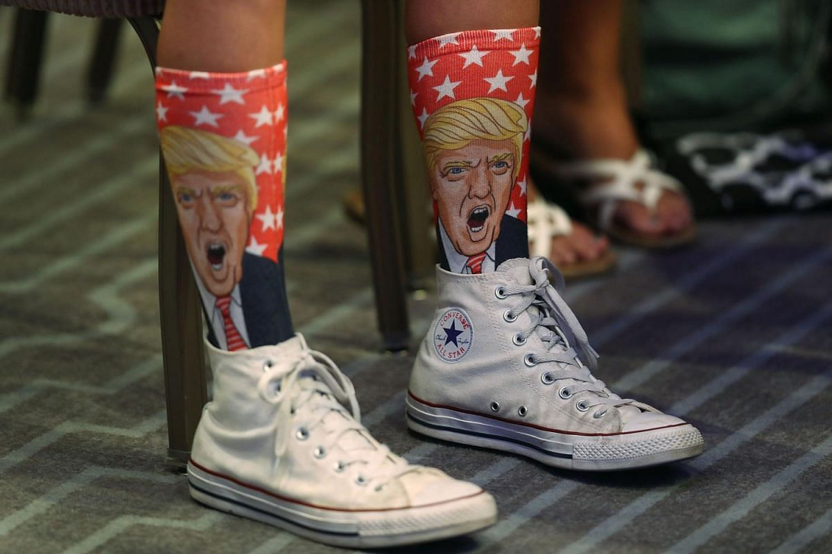 Republican presidential nominee Donald Trump socks are seen as he speaks at an address to the National Association of Home Builders on Aug  11, in Miami Beach, Florida.