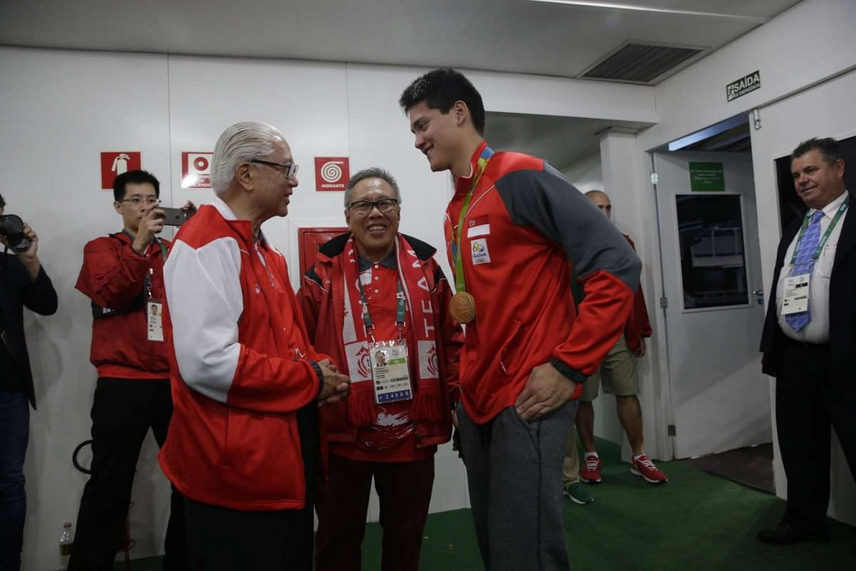 President Tony Tan Keng Yam meeting Joseph Schooling in the VIP area after the Rio 2016 Olympic Games men's 100m butterfly final at the Olympic Aquatics Stadium in Rio de Janeiro, Brazil, on Aug 12, 2016.