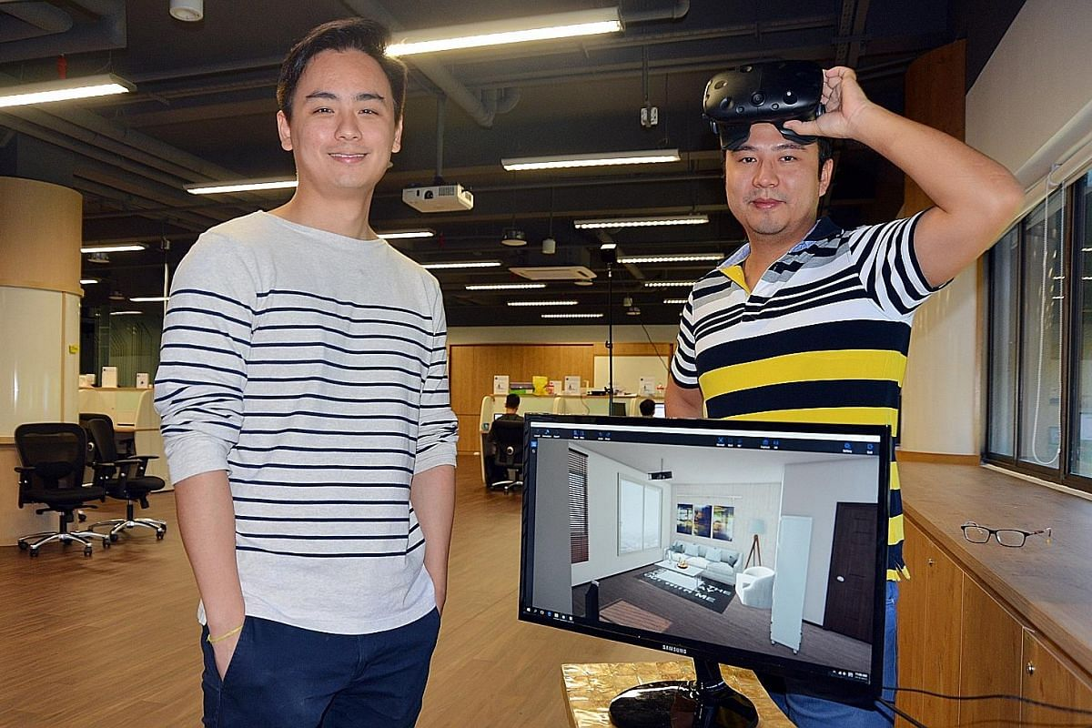 Writer Ankita Varma using the virtual- reality googles. Mr Jens Thang (far left) and Mr Zach Bai Lu are part of the six-person team behind the D5 Fusion program. Their software allows users to experience the interiors of a space in virtual reality fo