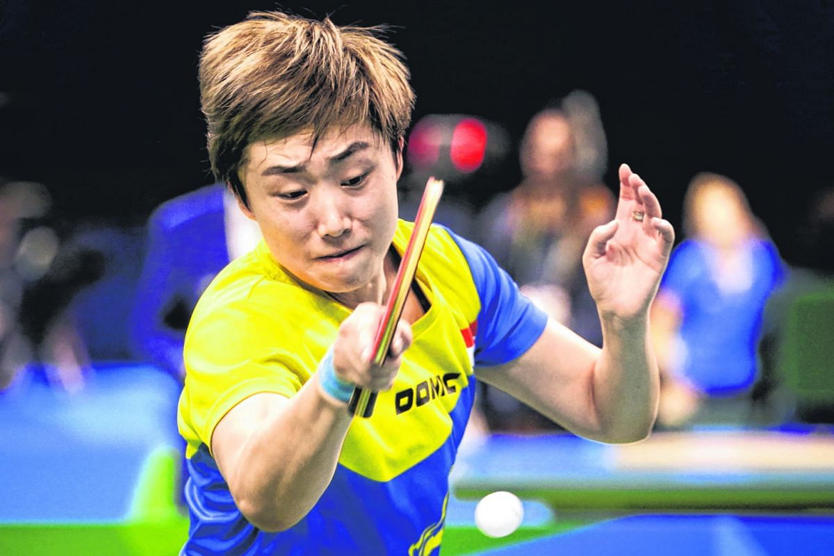 Days after defeat in the singles quarter-finals by Japan's Ai Fukuhara, Feng Tianwei (above) led the Singapore women's table tennis team to an opening 3-0 victory against Egypt. Playing the second singles of the tie, she beat Nadeen El-Dawlatly 11-4,