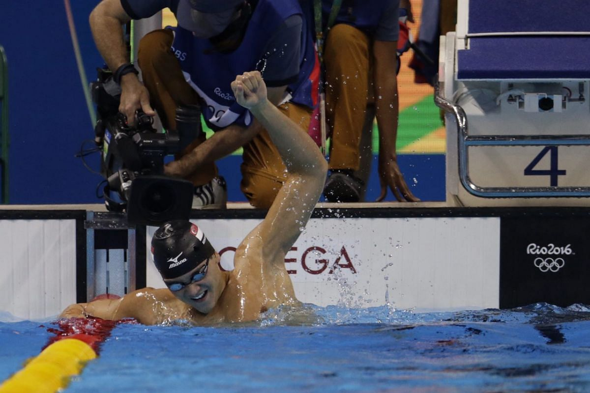 Joseph Schooling celebrating after winning gold for the men's 100m butterfly final on Aug 12.