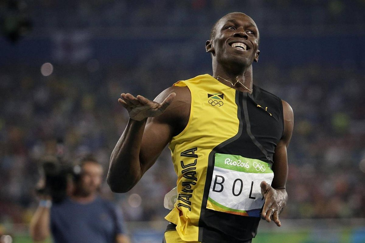 Usain Bolt of Jamaica reacting after winning the Rio 2016 Olympic Games athletics men's 100m final at the Olympic Stadium in Rio de Janeiro on Aug 14.