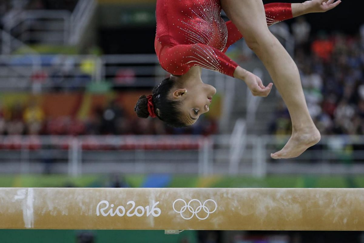 Lauren Hernandez of the US executing her routine during the Rio 2016 Olympic Games artistic gymnastics women's balance beam final at Rio Olympic Arena in Rio de Janeiro, Brazil, on August 15.