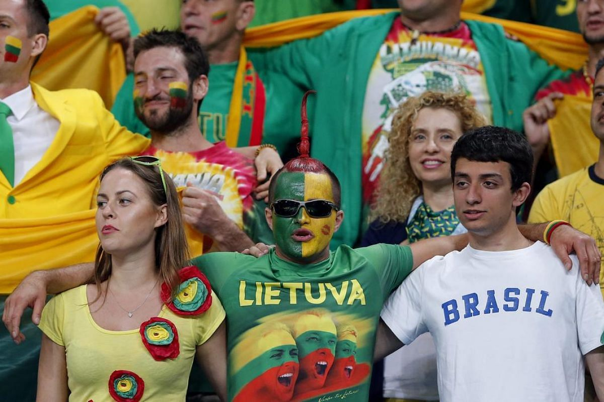 Fans of Lithuania during the men's preliminary round group B basketball game of the Rio 2016 Olympic Games between Lithuania and Croatia at the Carioca Arena 1 in the Olympic Park in Rio de Janeiro, Brazil, August 15.