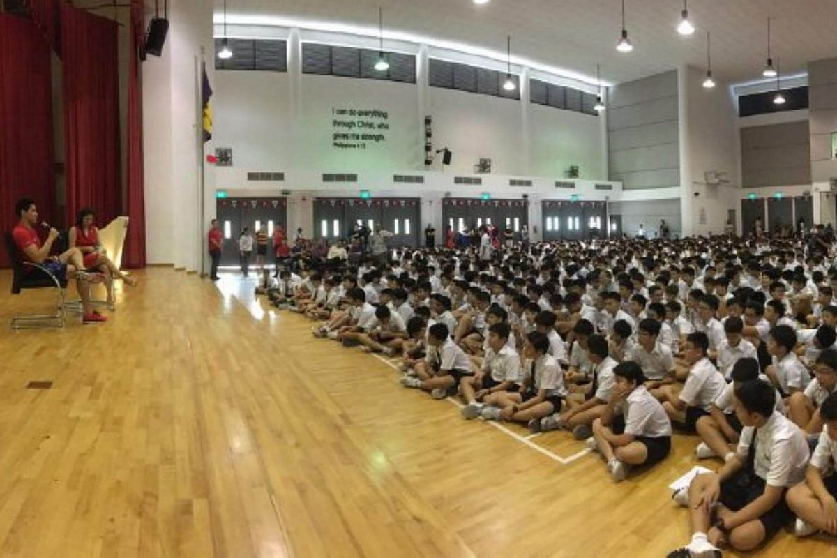 Joseph Schooling shares his Olympic experience with students at ACS Junior.
