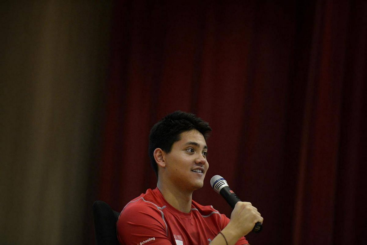 Joseph Schooling speaks to students during his visit to ACS Junior on August 15.