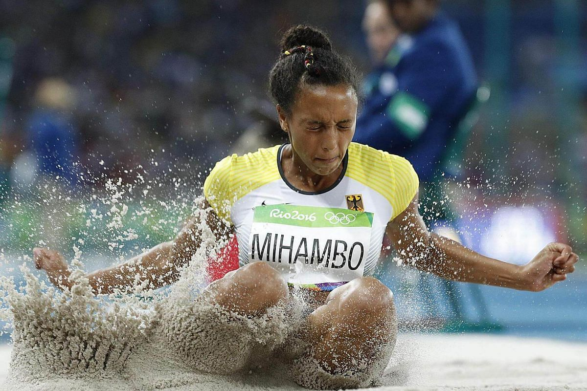 Germany's Malaika Mihambo competes in the Women's Long Jump Qualifying Round during the athletics event at the Rio 2016 Olympic Games in Rio de Janeiro on August 16.