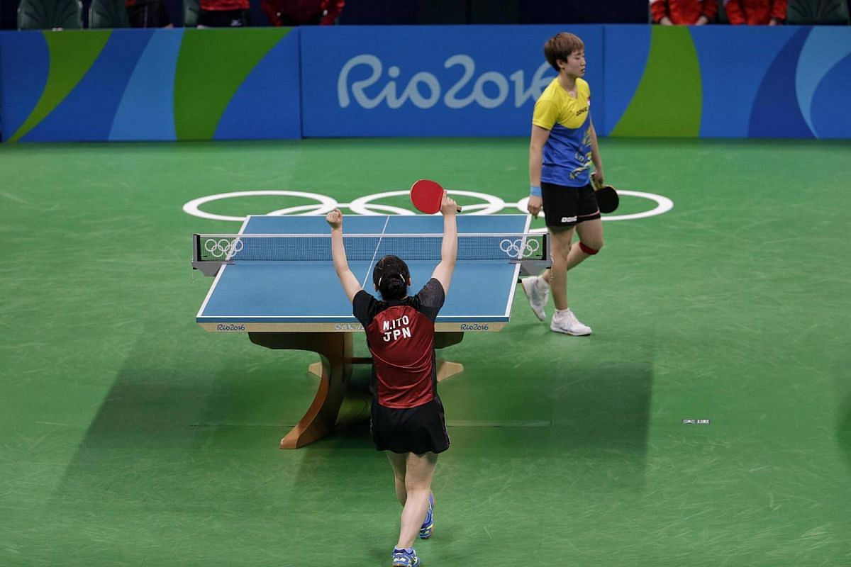 Japan's Mima Ito beating Singapore's Feng Tianwei to seal the bronze medal during the Rio 2016 Olympic Games table tennis women's team bronze play-off at Riocentro Pavilion 3 in Rio de Janeiro, Brazil, on August 16.
